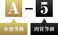 A:歩留等級 5:肉質等級