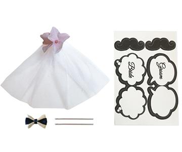 ミニモチーフ〔ピンク〕|新郎と花嫁がセットになっています|結婚式演出の手作りアイテム専門店B.G.