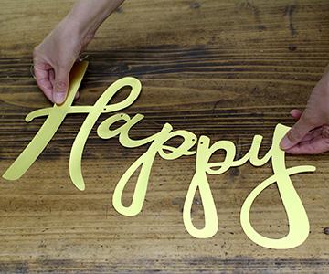 ペーパーバナー〔Happy Wedding〕|間隔を調整|結婚式演出の手作りアイテム専門店B.G.