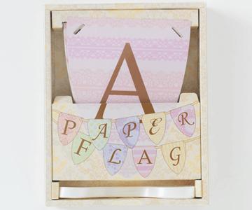 ペーパーフラッグ〔ガーリー〕|ペーパーフラッグにはリボン付き|結婚式演出の手作りアイテム専門店B.G.