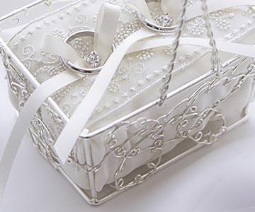 リングピロー〔ルミナスバスケット〕完成品|上品なカゴ入りのリングピロー|結婚式演出の手作りアイテム専門店B.G.