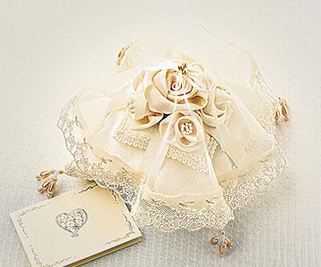 リングピロー〔ベールローズ〕手作りキット|ベールに包まれる姿は神秘的です|結婚式演出の手作りアイテム専門店B.G.