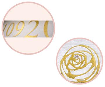 ありがとうフラワーボード〔ローズ)お仕立て券|ゴールドの切り文字と金の箔押しのバラにはスワロフスキーの装飾|結婚式演出の手作りアイテム専門店B.G.