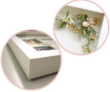 ありがとうフラワーボード〔ローズ)お仕立て券|清楚な花飾りと、厚み3cmの立体感のある白い額縁のガラスケース|結婚式演出の手作りアイテム専門店B.G.