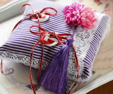 リングピロー〔水引モダン〕手作りキット 紫のフリンジがアクセントに 結婚式演出の手作りアイテム専門店B.G.