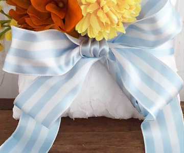 ウェルカムボード〔アジサイ・ピンク〕|サムシングブルーのストライプのリボン|リングのご使用方法|結婚式演出の手作りアイテム専門店B.G.