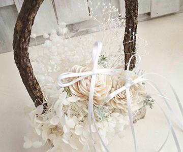 リングピロー〔白樺のカゴ〕完成品|ナチュラルで無垢な白さ|結婚式演出の手作りアイテム専門店B.G.