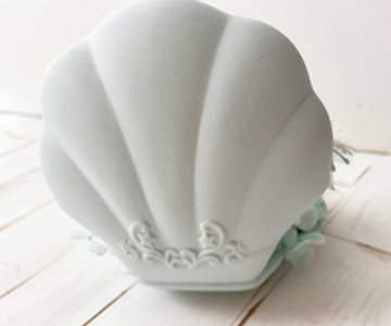 リングピロー〔マーメイド〕完成品|外側のシェルは陶器製です|結婚式演出の手作りアイテム専門店B.G.