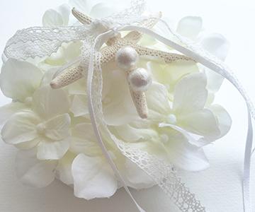リングピロー〔星の貝がら〕手作りキット 結婚式演出の手作りアイテム専門店B.G. 商品の説明