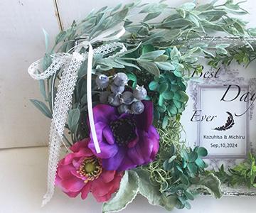 ウェルカムボード〔ナチュラルガーデン〕完成品|メインの花材にはアネモネを使用|結婚式演出の手作りアイテム専門店B.G.