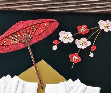 ウェルカムボード〔エレガンス和風〕完成品|和傘や梅の花も布製|結婚式演出の手作りアイテム専門店B.G.