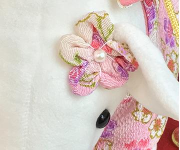 ウェルカムドール〔はんなりぶーちゃん・ホワイト〕手作りキット|花飾りも着物とお揃いの生地で|結婚式演出の手作りアイテム専門店B.G.