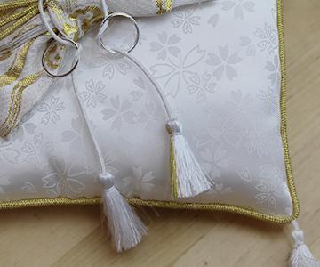 リングピロー〔和風スクエア〕完成品|生地には小花の織柄|結婚式演出の手作りアイテム専門店B.G.