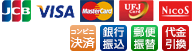 JCB・VISA・MasterCard・UFJ・Nicos・銀行振込・代金引換
