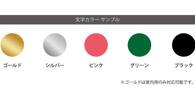 文字カラーサンプル ゴールド・シルバー・ピンク・グリーン・ブラック