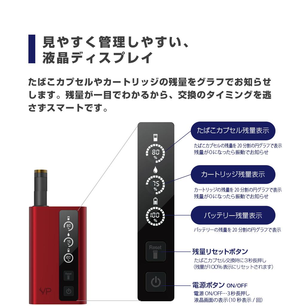 見やすく管理しやすい、液晶ディスプレイ。たばこカプセル